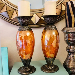 HOME DECOR CANDLE HOLDERS BOHO ETCHED GLASS